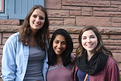 Emma Thompson '17 (right) with Lana Waschka '17 and Sammi Fernandes '17 during their Park senior retreat in Colorado - Fall 2016