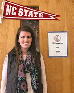Julianne Donoghue '14 outside her high school classroom in Charlotte