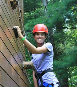 Julianne Donoghue '14 challenging herself on the high ropes course during her Park freshman retreat - August 2010