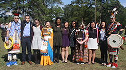 The Learning Lab I Committee (left to right) with traditional Lumbee dancers: Co-Chair Belton Moore '20 (Lumbee), Mallory Alman '20, Co-Chair Jada Hester '20, Jennifer Lo '20, Sindhoor Ambati '20, Maggie He '20, and Alyssa Cox '20