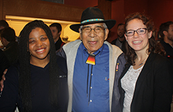 Naila Segule '20 and Kate Speese '20 with Jerry Wolfe, tribal elder and Beloved Man of the Eastern Band of Cherokee Indians
