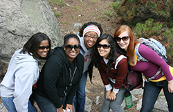 Claire Shigekawa Rennhack '08 (second from right) with Christina Cox '08, Adrienne Scott '08, Candice (Epps) Jackson '08, and Susanna (Rankin) Sawyer '08 in Rocky Mountain National Park during their senior retreat – Fall 2007