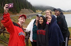 Members of the Class of 2017 capture a selfie at Milner Pass during their senior retreat in Rocky Mountain National Park - September 2016