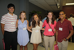 Krystal Smith '14 (center) facilitated the Park freshman retreat for Zach Jones '17, Meredith Mason '17, Ashlyn Johnson '17, and Rizwan Dard '17 - August 2013
