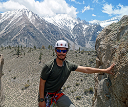 Daniel Snyder '12 in the Sierras, learning to set up outdoor rock climbing - 2015