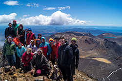 Daniel Snyder '12 (right) with his Pilgrimage DTS team on top of New Zealand's Mt. Ngauruhoe - 2015