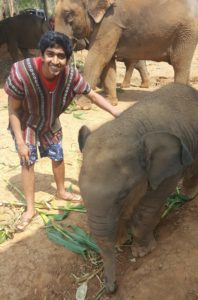 Pranav Kemburu '19 with an elephant