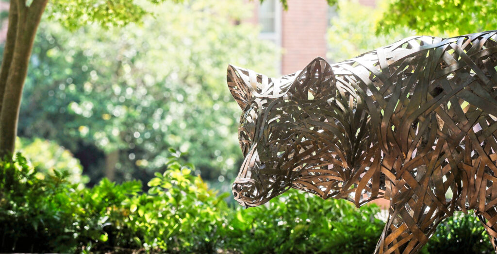 One of the copper wolves at Wolf Plaza. Photo by Marc Hall