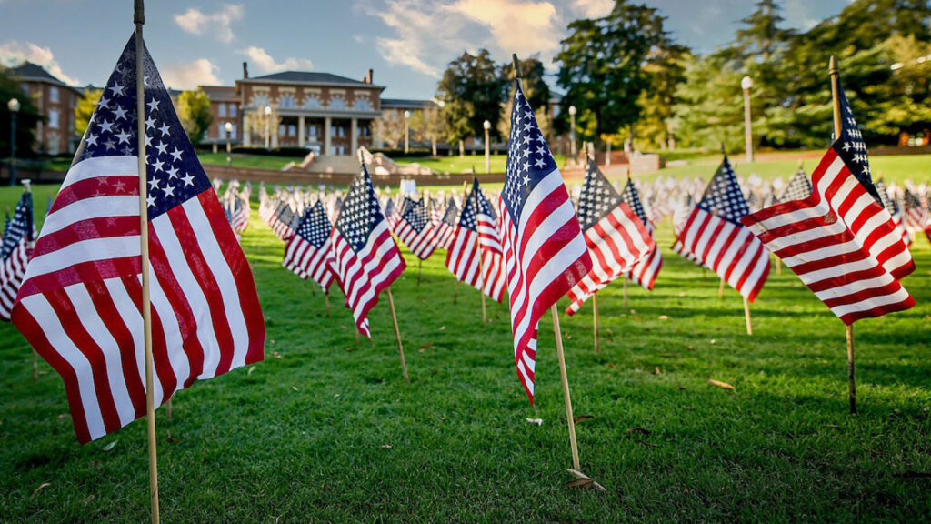 NC State's Court of Carolinas decorated with U.S. flags for Veterans Day