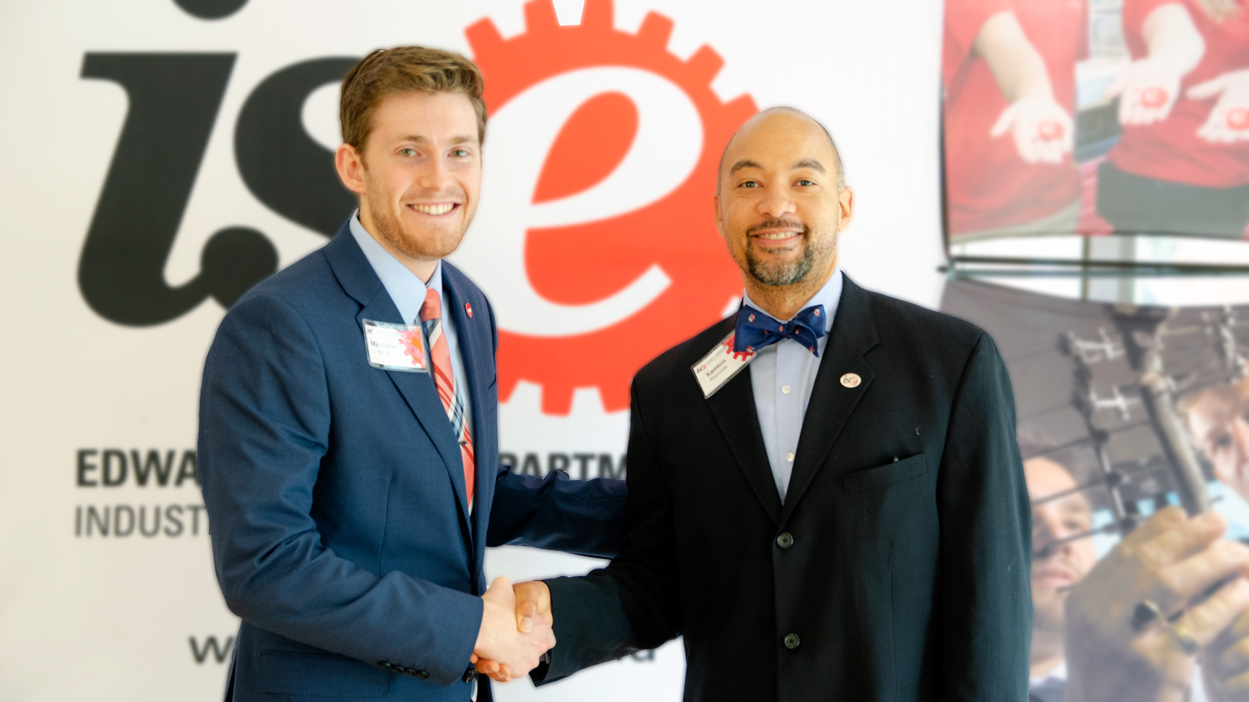 Kanton Reynolds with Matthew Parker during ISE Engineering Design Day 2019